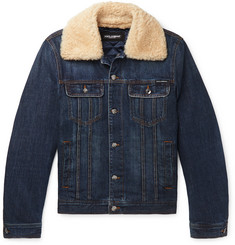 Dolce & Gabbana Slim-Fit Shearling-Trimmed Denim Trucker Jacket