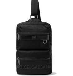 Dolce & Gabbana Logo-Detailed Leather-Trimmed Canvas Backpack