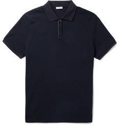 Moncler Maglia Grosgrain-Trimmed Cotton-Piqué Polo Shirt