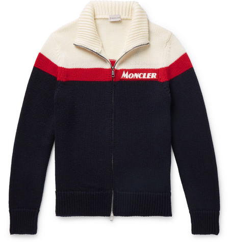 Slim Fit Colour Block Virgin Wool Zip Up Cardigan by Moncler