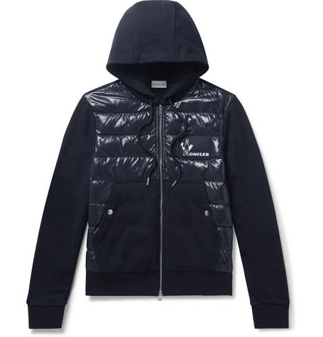 Panelled Cotton Jersey And Quilted Shell Down Zip Up Hoodie by Moncler