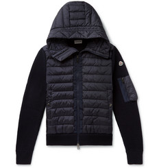 Moncler Panelled Quilted Shell and Virgin Wool-Blend Hooded Down Jacket