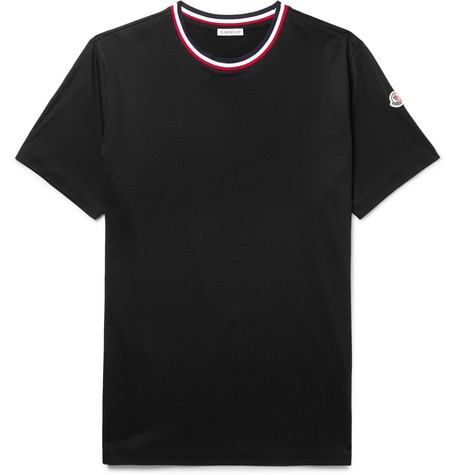 Logo Appliquéd Stripe Trimmed Cotton Jersey T Shirt by Moncler