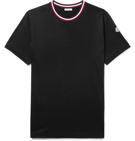 logo-appliquéd-stripe-trimmed-cotton-jersey-t-shirt by moncler