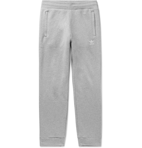 08e27e91e adidas OriginalsSlim-Fit Tapered Logo-Embroidered Mélange Loopback  Cotton-Jersey Sweatpants