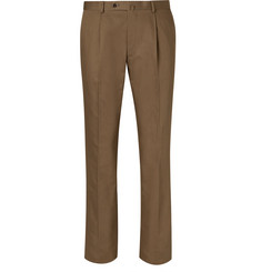 Beams F - Brown Slim-Fit Pleated Cotton and Linen-Blend Twill Suit Trousers