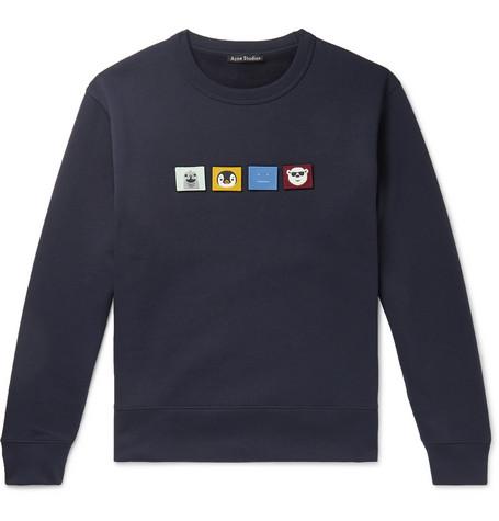 Acne Studios AppliquÉD Fleece-Back Cotton-Jersey Sweatshirt In Blue