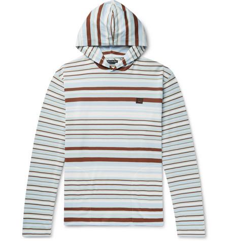 Acne Studios Logo-AppliquÉD Striped Cotton-Jersey Hoodie In Blue
