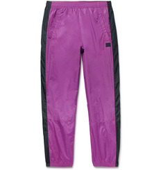 Tapered Logo-appliquéd Striped Nylon Track Pants - Purple