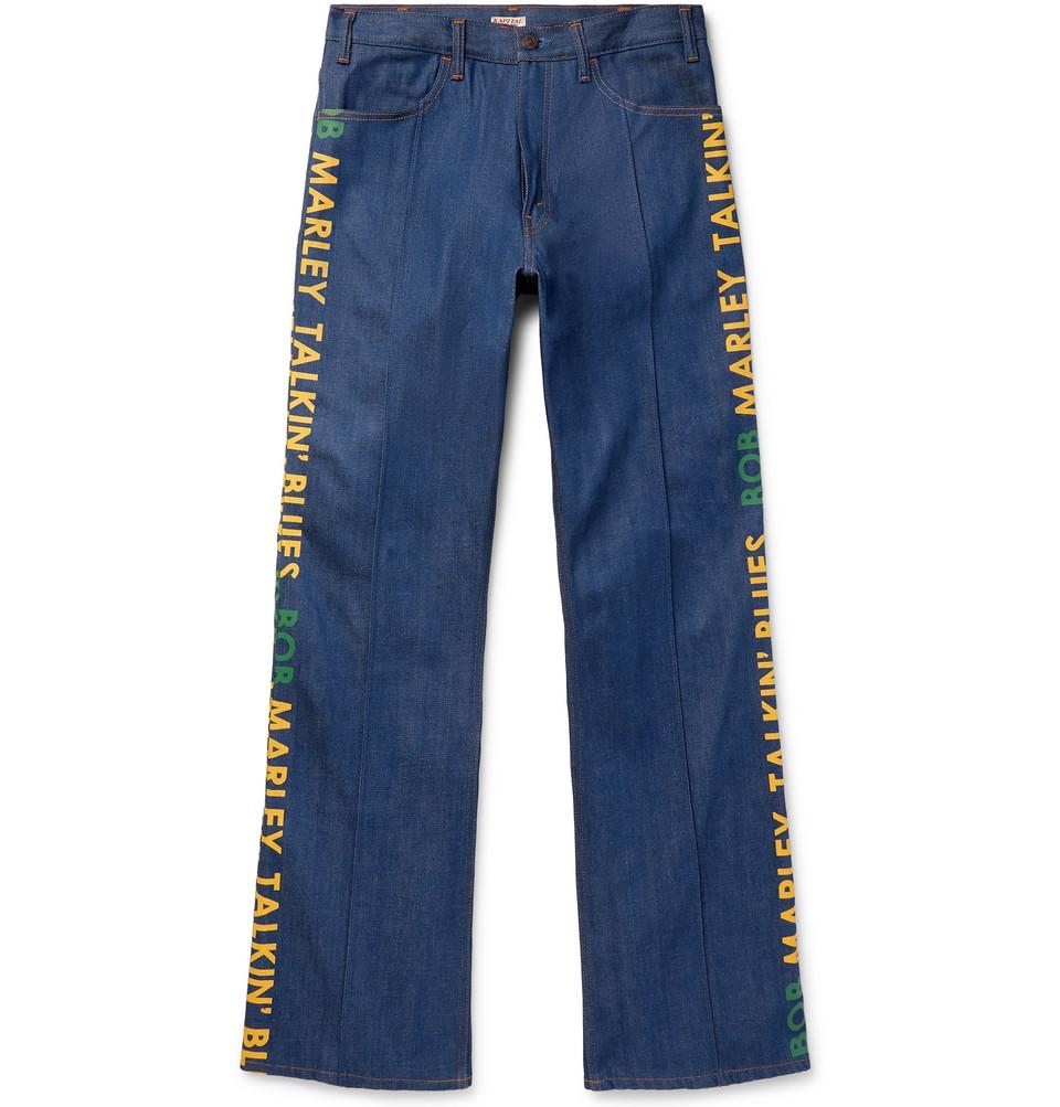 + Bob Marley Wide-leg Printed Denim Jeans - Indigo