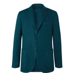 Lardini - Teal Brushed Cashmere and Wool-Blend Twill Blazer