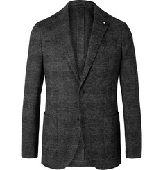 Lardini Grey Slim-Fit Unstructured Prince of Wales Checked Wool and Cotton-Blend Blazer