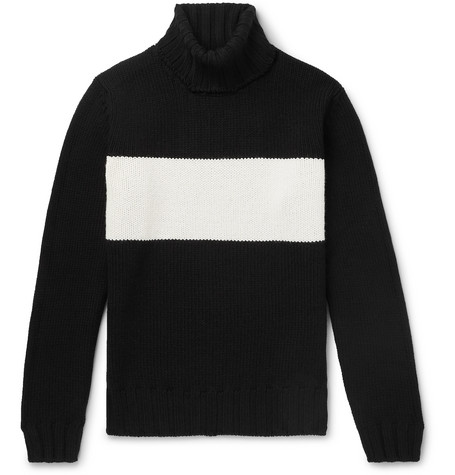 LARDINI | Lardini - Striped Wool Rollneck Sweater - Black | Goxip
