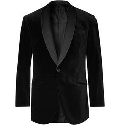 Richard James Black Hyde Slim-Fit Faille-Trimmed Cotton-Velvet Tuxedo Jacket