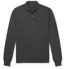 Belstaff Bay Mélange Cotton and Silk-Blend Half-Zip Sweater