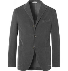 Boglioli Grey K-Jacket Slim-Fit Unstructured Stretch-Cotton Corduroy Suit Jacket