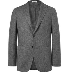 Boglioli Dark-Grey K-Jacket Unstructured Mélange Virgin Wool Blazer