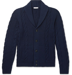 Boglioli Shawl-Collar Cable-Knit Virgin Wool Cardigan
