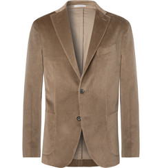 Boglioli Olive-Green K-Jacket Slim-Fit Unstructured Cotton-Blend Velvet Blazer