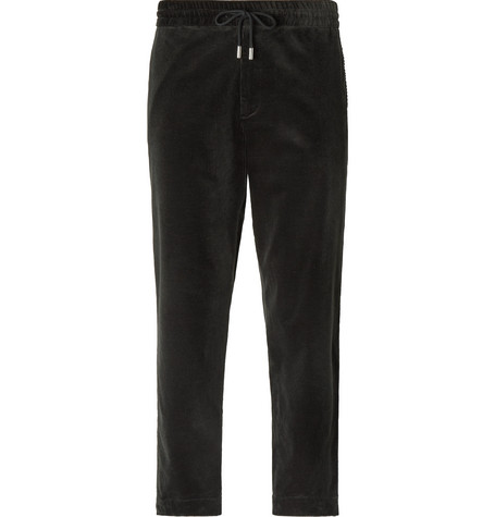 Slim Fit Cotton Corduroy Drawstring Trousers by Mr P.