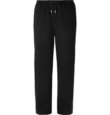 Mr P. Wide-Leg Black Fleece-Back Wool-Blend Drawstring Trousers
