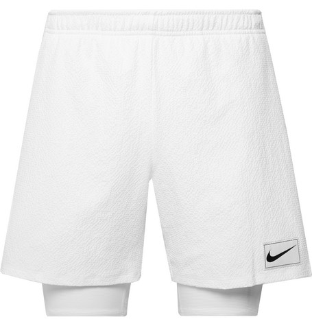Nike Tennis NikeCourt Ace 2-in-1 Dri-FIT Seersucker and Stretch-Jersey Shorts