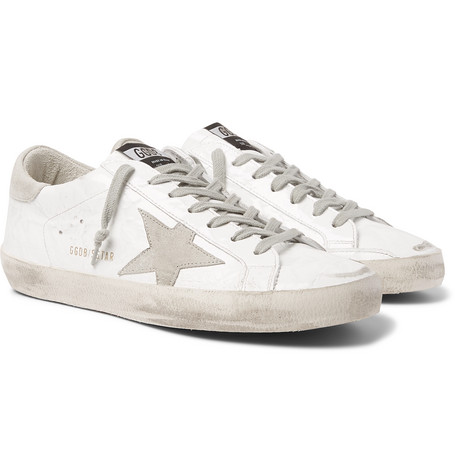 Golden Goose Superstar Distressed Patent-Leather and Suede Sneakers