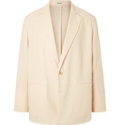 Auralee Cream Oversized Unstructured Wool-Twill Suit Jacket