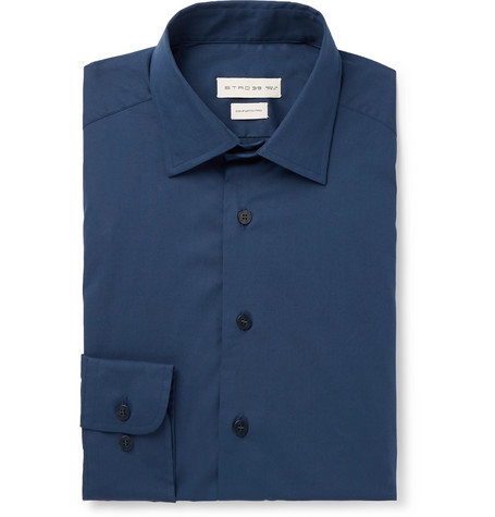 Etro Navy Slim-Fit Cotton-Blend Poplin Shirt