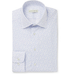 Etro White Slim-Fit Spread-Collar Paisley-Print Cotton Shirt