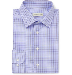 Etro Blue Slim-Fit Checked Cotton-Poplin Shirt