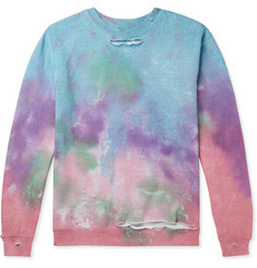 EV BRAVADO Distressed Tie-Dyed Loopback Cotton-Blend Jersey Sweatshirt