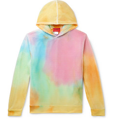 EV BRAVADO - Layered Mesh and Tie-Dyed Loopback Cotton-Jersey Hoodie