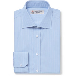 Turnbull & Asser - Light-Blue Slim-Fit Striped Cotton-Poplin Shirt