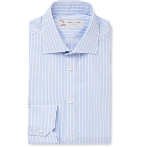 Light Blue Slim Fit Striped Cotton Poplin Shirt by Turnbull &Amp; Asser