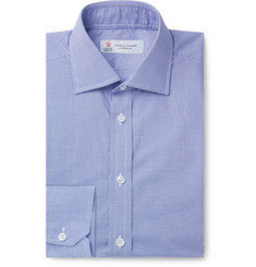Turnbull & Asser - Navy Slim-Fit Cutaway-Collar Micro-Gingham Cotton-Poplin Shirt