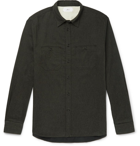 Mélange Brushed Cotton Flannel Shirt by Mr P.