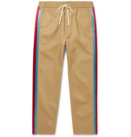 Gucci Tapered Cropped Striped Satin-Trimmed Cotton-Twill Trousers