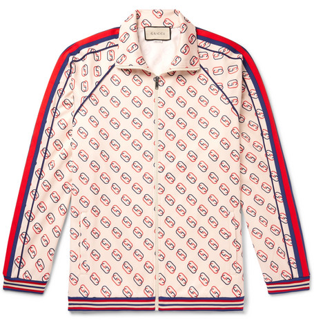Striped Webbing Trimmed Logo Print Tech Jersey Track Jacket by Gucci