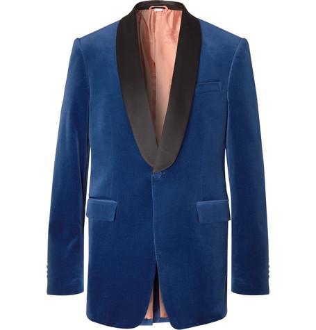 Blue Slim Fit Silk Satin Trimmed Cotton Blend Velvet Tuxedo Jacket by Gucci