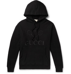 Gucci Logo-Embroidered Loopback Cotton-Jersey Hoodie