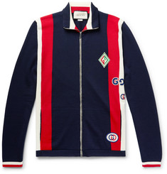 Gucci Logo-Appliquéd Striped Wool Zip-Up Sweater
