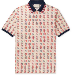Gucci Oversized Logo-Print Stretch-Cotton Piqué Polo Shirt