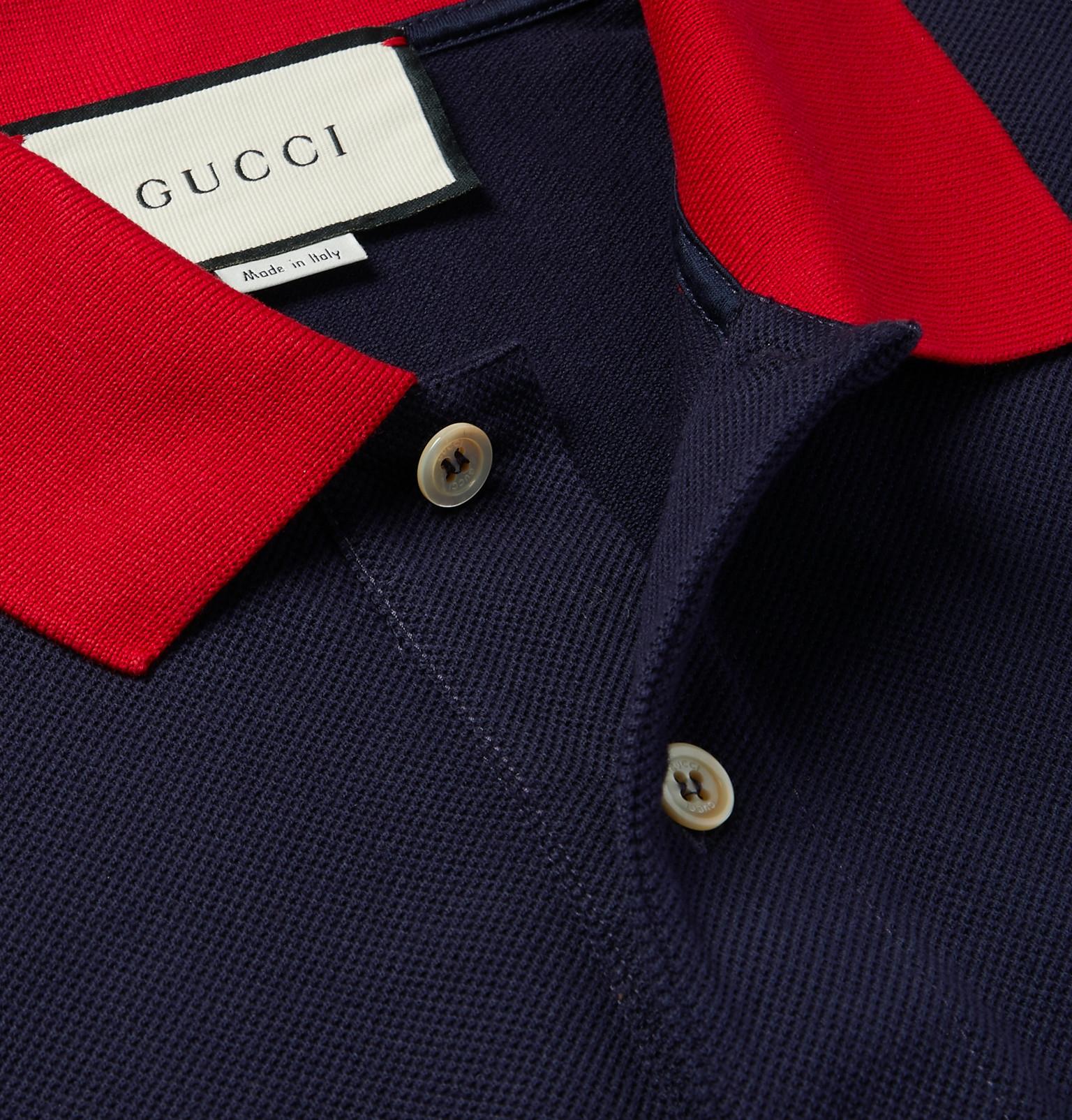 8e3bd74533 Gucci - Logo-Embroidered Stretch-Cotton Piqué Polo Shirt