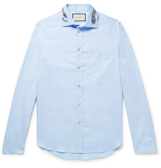 Gucci Logo-Embroidered Cotton Oxford Shirt