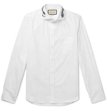 d1c74acd6734 Gucci - White Slim-Fit Cutaway-Collar Embroidered Cotton-Poplin Shirt