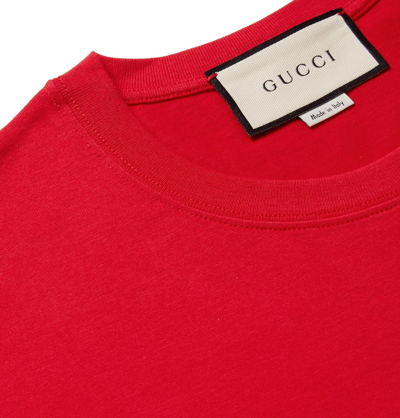 b4e4a47b2 Gucci - Logo-Embroidered Cotton-Jersey T-Shirt