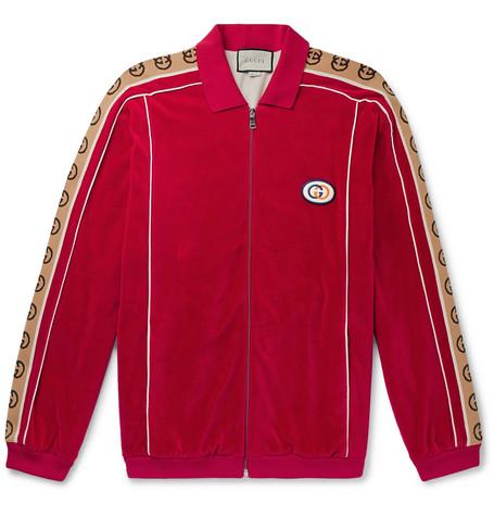 a11637c67 GucciOversized Logo-Appliquéd Webbing-Trimmed Piped Velvet Track Jacket
