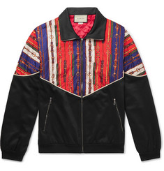 Gucci - Printed Silk-Twill and Tech-Jersey Bomber Jacket