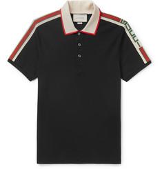 9fdec0311616 Gucci Slim-Fit Webbing-Trimmed Stretch-Cotton Piqué Polo Shirt